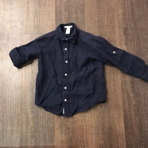 Janie and Jack navy linen shirt